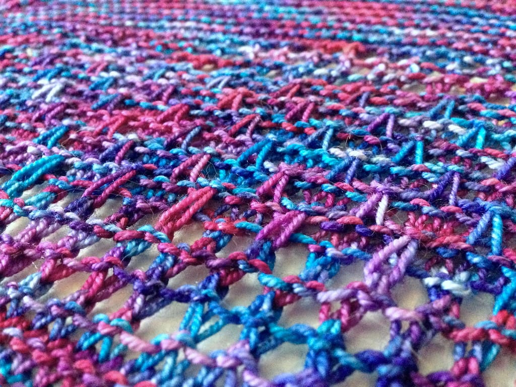 A close-up view of the Aila Grace shawl.