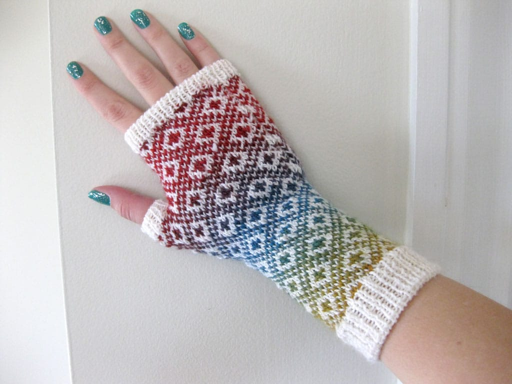 A front view of my Endpaper Mitts.