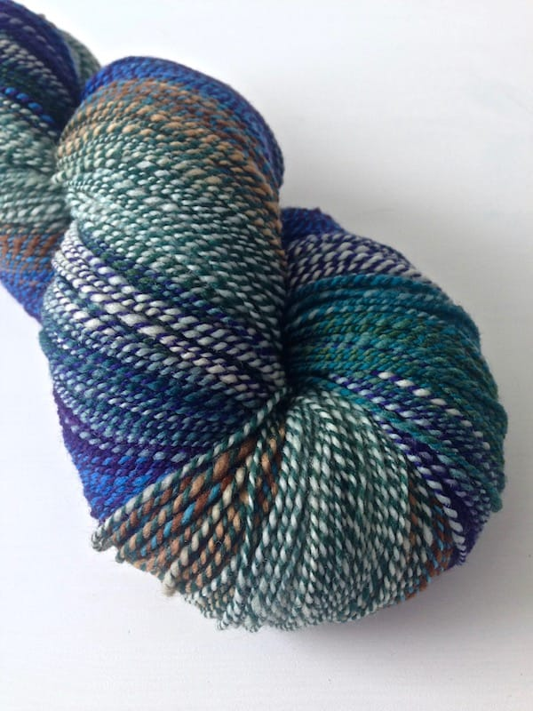 A blue/green skein of handspun yarn.
