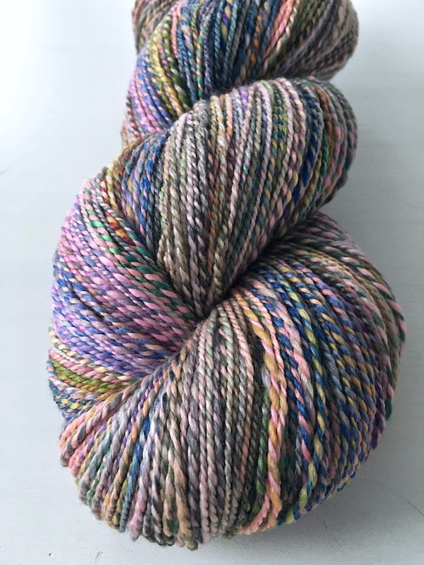 Closeup of a finished skein of spun yarn.