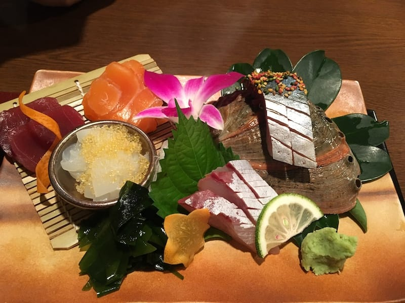 A beautifully arranged plate of sushi from Japan.