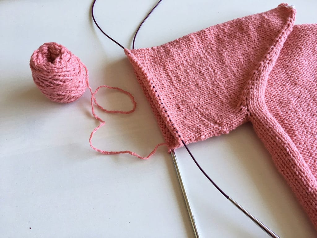 One of the sleeves of the Mama Vertebrae sweater.