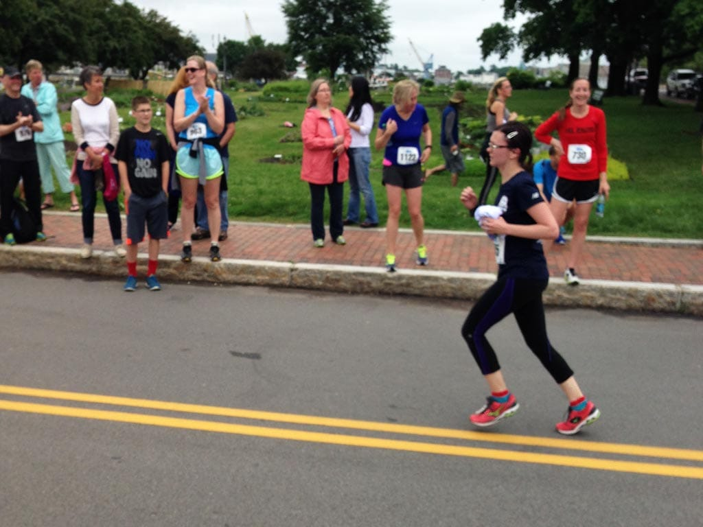 Near the finish line of the Market Square Day 10k in 2014.