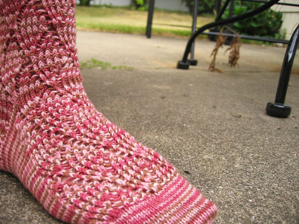 A knit sock outside.