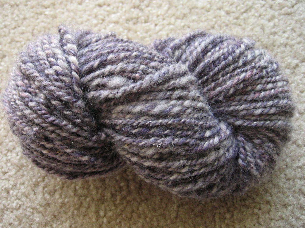 A skein of finished hand-spun yarn.