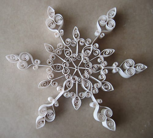 A quilled snowflake.