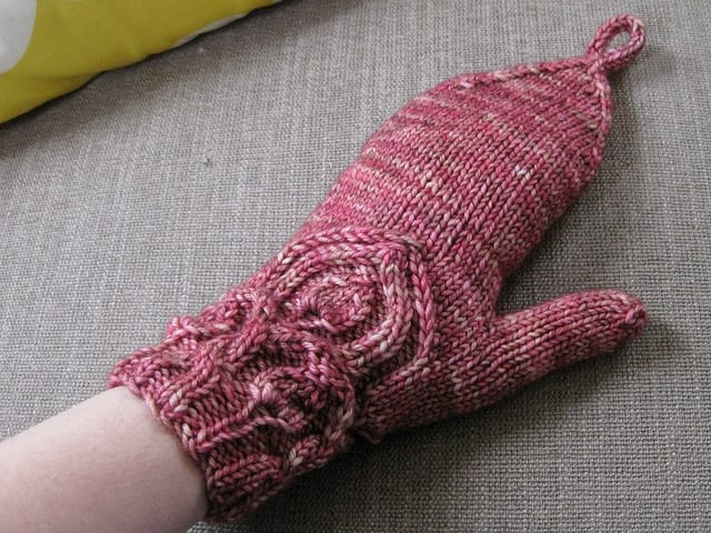 Finished Snapdragon flip-top mitt.