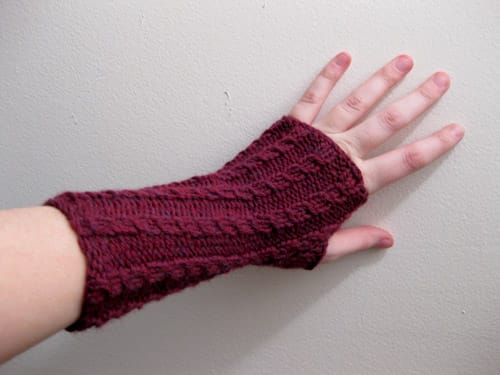 A knit wristwarmer.